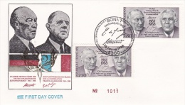 France & Germany FDC 1988 French-German Cooperation (SKO3-2) - Joint Issues