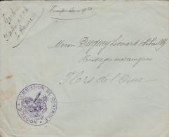 """Le Havre - Cachet  """"comission De Controle 3ième Region  Sur Lettre  - Scan Recto Verso"""