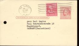 SCOTT UX 38 POSTCARD 2c FROM DELAND FLA TO GERMANY + SC 806  2c - 1954 - 1941-60