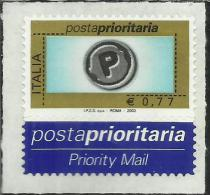 ITALIA REPUBBLICA ITALY REPUBLIC 2003 2004 POSTA PRIORITARIA PRIORITY MAIL € 0,77 IPZS SpA ROMA 2003 MNH TIPOGRAFICA - 2001-10:  Nuevos