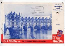 Buvard - Pile Mazda - Château Chenonceaux, Toute L'électricité, H. Gallier, Boynes (Loiret) - Electricité & Gaz