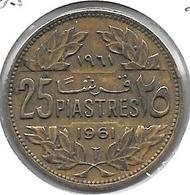 *lebanon 25 Piastres 1961  Km 16.2    Xf+ - Liban