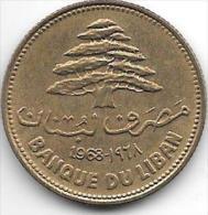 *lebanon 25 Piastres 1968  Km 27.1    Unc - Liban