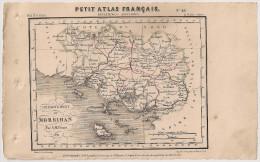 Carte Département Du Morbihan, De 1841 Par Perrot. Petit Atlas Français. Géographie Langlois. Vannes Lorient Ploermel - Mapas Geográficas