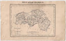 Carte Département De L´Orne, De 1841 Par Perrot. Petit Atlas Français. Géographie Langlois. Alençon Argentan Mortagne - Cartes Géographiques