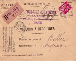 SOMMES - AMIENS B - RECETTE AUXILIAIRE - 24-1-1934 - DEVANT DE LETTRE RECOMMANDEE VALEURS A RECOUVRER - TYPE PAIX 1F75 - Postmark Collection (Covers)