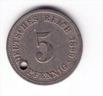 1899 Germany 'Holed' 5 Pfennig  Coin - [ 2] 1871-1918 : German Empire
