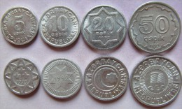 Azerbaijan- Aserbaidschan Set Of 4 Coins 1992-1993 (5+10+20+50 Qapik) UNC Aluminium