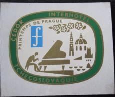 HOTEL INTERHOTEL CEDOK PRAGUE CSSR CSR CZECH REPUBLIC CZECHOSLOVAKIA LUGGAGE LABEL ETIQUETTE AUFKLEBER DECAL STICKER - Hotel Labels