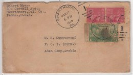 Coil Pair, Horizonal Perf., 2c John Adams, Used On Cover, Swartmore United States USA To Aden Camp 1939 - Lettres & Documents