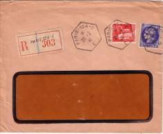 PARIS -124-E - RECETTE AUXILIAIRE DU 28-2-1941 - LETTRE RECOMMANDEE AVEC 50c TYPE PAIX ET CERES 2F50. - Postmark Collection (Covers)