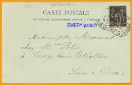 Oblitération 1900-8 Cpa1 Paris (75) Le 31-8-1900, Arrivée Soisy-sur-Etiolles (91), CPA Paris Tour Eiffel, Ecrite, Qualit - Cartes Postales