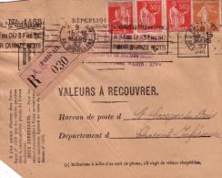 PARIS -XIV - DEVANT DE LETTRE RECOMMANDEE VALEURS A RECOUVRER AVEC 3x50c TYPE PAIX + 25c SEMEUSE - 15-3-1937 - MANQUE AN - Postmark Collection (Covers)
