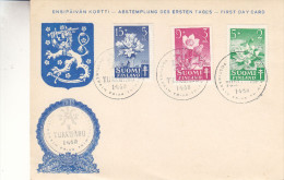 Finlande - Carte Postale De 1950 - Oblitération Turku Äbo - Fleurs - Valeur 10 Euros - Used Stamps