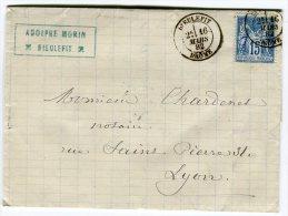 """Oblitération De """"  Dieulefit """" Sur Lettre ( Avec Texte) En 1882 Pour Lyon    Référence 393 - Marcophilie (Lettres)"""