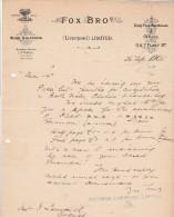 Lettre 1905 FOX BROS Wine Shippers LIVERPOOL - Cognac Charente France - Royaume-Uni
