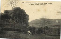 CHATEAULIN  Ruines Du Chateau Bati Au Xe Siecle Par Budic ,comte DeCornouaille Vache  Recto Verso - Châteaulin