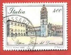 ITALIA REPUBBLICA USATO - 1988 - Piazze D'Italia - 2ª Emissione - Piazza Del Duomo Pistoia - £ 400 - S. 1840 - 6. 1946-.. Repubblica