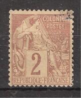 Colonies Générales , Type ALPHEE DUBOIS, Yvert N° 47 , 2 C Lilas Brun / Paille , Obl Légère, TB ! - Alphée Dubois