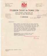 Lettre 1914 Hudson Scott Colour Printers Lithographers Decoratd Tin Box CARLISLE  - Cognac Charente France - Royaume-Uni