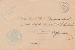 """Lettre  De 1915 - Cachet  """"commandant D'arme Place D'Alençon """"  -"""