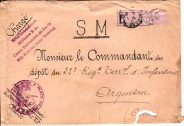 """Lettre Chargée   De 1915 - Cachet  """"place De Paris  Sous Intendance Miltaire E """"  -  Cachet De Cire  - 3 Scan"""