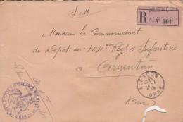 """Lettre Chargée   De 1915 - Cachet  """"intendance Mil. 4ième Région  Alençon """"  -  Cachet De Cire  - 3 Scan"""