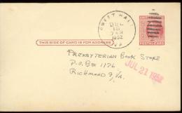 POST CARD  Scott UX 38 -  SWEET HALL  1952  - - 1941-60