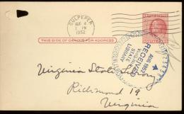 POST CARD  Scott UX 38 -  CULPEPER  1952  - - 1941-60