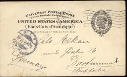 POST CARD  Scott UX 16 -  NEW YORK  1905 - LIBERTY -  WITH DORTMUND ARRIVAL STAMP  - COTE SCOTT USD 17,00 - Ganzsachen