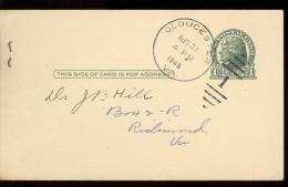 POST CARD  Scott UX 27  - GLOUCESTER 1949   -  JEFFERSON  - NICE CANCELLATION - 1941-60