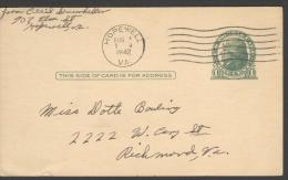 POST CARD  Scott UX 27  - HOPEWELL 1942  -  JEFFERSON  - NICE CANCELLATION - 1941-60