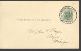 POST CARD  Scott UX 27  - FOX LAKE 1942  -  JEFFERSON  - NICE CANCELLATION - 1941-60