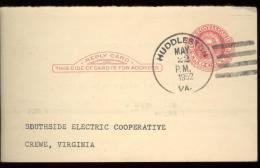 POST CARD 2c - SCOTT UY 13 - MARTHA WASHINGTON - HUDDLESTON 1952 - NICE CANCELLATION - 1941-60