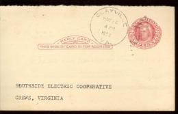 POST CARD 2c - SCOTT UY 13 - MARTHA WASHINGTON - CLAYVILLE  1952 - NICE CANCELLATION - 1941-60