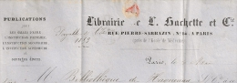 LIBRAIRIE HACHETTE G PARIS G  Sur  Lettre 20c NAPOLEON. - 1849-1876: Klassieke Periode