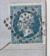 N° 14 VOISIN VARIETE SOUS M DE EMPIRE, PC 2950 STRASBOURG BAS RHIN SUR LETTRE. - 1853-1860 Napoléon III