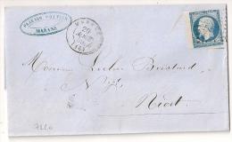 N° 14 BORD DE FEUILLE, PC MARANS CHARENTE INFERIEURE SUR LETTRE. - 1849-1876: Période Classique