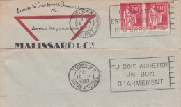 L'AVIATION EST LA PLUS BELLE DES CARRIERES Orleans Loiret + TU DOIS ACHETER UN BON D'ARMEMENT Verso Lettre Affrt PAIX 50 - Guerre Mondiale (Seconde)