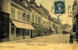 77 MONTEREAU Animée  Grande Rue Belle Carte Couleur Toilée Quincaillerie DEVILLAIRE - Montereau