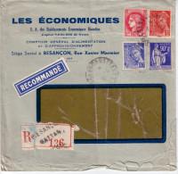 DOUBS - BESANCON - LETTRE RECOMMANDEE ENTETE LES ECONOMIQUES - AFFRANCHISSEMENT TYPE PAIX - MERCURE - CERES. - Postmark Collection (Covers)