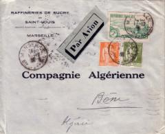BOUCHES DU RHONE - MARSEILLE - LETTRE AVION POUR BONE ALGERIE - AFFRANCHISSEMENT A 3F75 AVEC TYPE PAIX 1F + 75c - Postmark Collection (Covers)