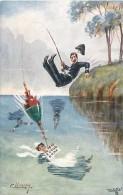 Ref K936- Illustrateur- Tuck -raphael -ollette -pecheur -peche A La Ligne-carte Bon Etat -postcard In Good Condition- - Tuck, Raphael