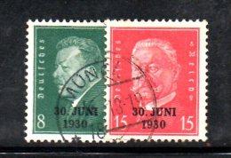 GERMANIA IMPERO 1930 , Serie N. 426A/B Usato . Renania - Usati
