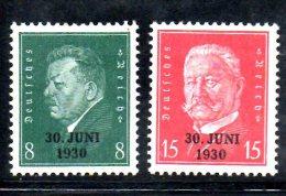 GERMANIA IMPERO 1930 , Serie N. 426A/B * . Renania - Germania