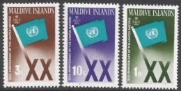 Maldives. 1965 20th Anniv Of UN. MH Complete Set. SG 165-167 - Maldives (1965-...)