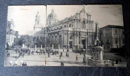 CPA Panoramique En 3 Parties Animée - CATANIA - La Cattedrale - Catania
