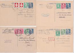 Lot De 4 CP GANDON 5f Avec Affranchissement Complémentaire - Cartes Postales Types Et TSC (avant 1995)