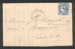 CST Voujaucourt - M.BES. Ligne 81 Montbéliars-Besançon - TP N° 60 Obl. BES.P. Dec 1872 - Marcophilie (Lettres)