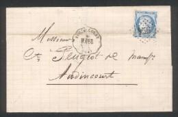 CST Voujaucourt - M.BES. Ligne 81 Montbéliars-Besançon - TP N° 60 Obl. GC 456 De Besançon - Dec 1872 - Marcophilie (Lettres)